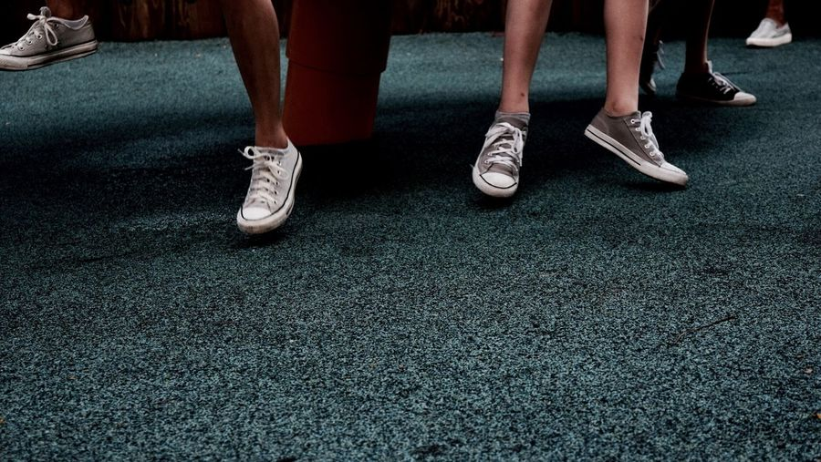 -All~Star- Feet Playground Melancholy Blue Converse All Star Converse Shoe Low Section Men Real People Human Body Part Standing People Togetherness