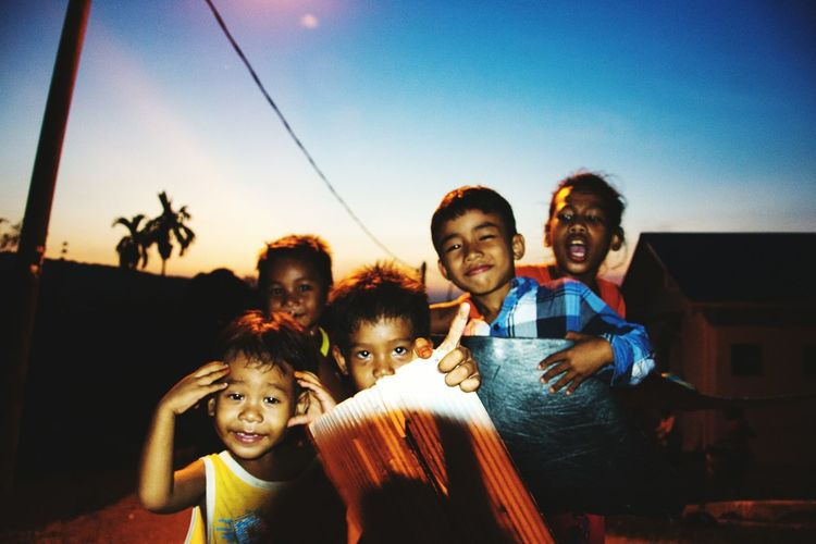 Childhood Togetherness Leisure Activity Friendship Looking At Camera Fun Playing Outside Night Photography Street Photography People Photography Streetphotography People Black And White Indigenous People Orang Asli Children Innocence Outdoors . Capture The Moment People And Places