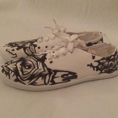 "For Sale: ""White Roses "" Custom Canvas Shoes,Womens Sz 8 : DM for Serious Inquiries or Custom work. Astroids Art 916 Fuckem Somethingtodo Custom California DOPE Dontsleep Denimandmore"