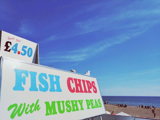 EyeEm Selects Blue Outdoors Sky SeaTravel People Sea And Sky Seagull Bird Photography Multi Colored Day NikonphotographyEyeEm Best Shots Beach Summer Brighton Beach Fish And Chips...