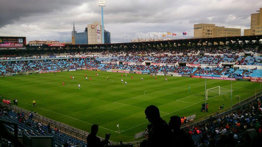 Una Vista del Estadio De Fútbol la Romareda en el Partido Zaragoza, Numancia