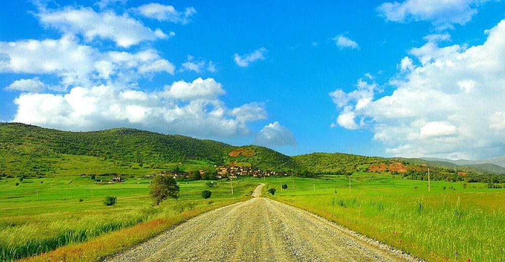 Kurdistan Spring Green Green Green!  Photooftheday Sardasht Nature Springtime Landscape Blu Sky Road