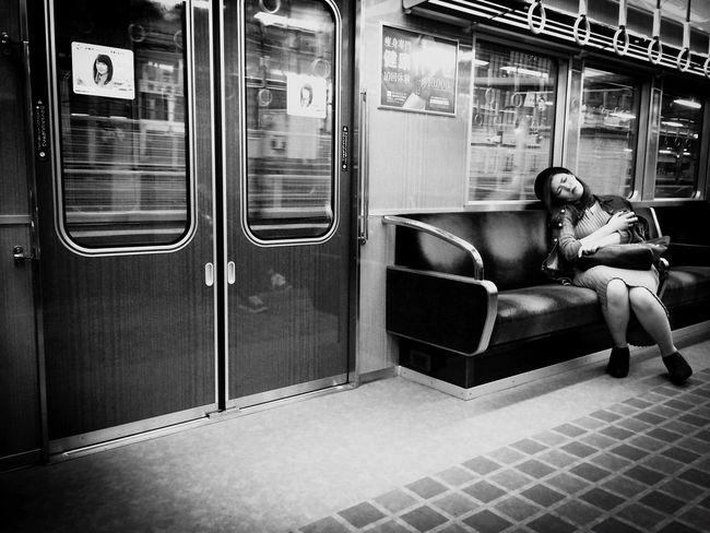 in train Sitting Life Blackandwhite Monochrome Sleep In Train