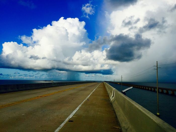 Rain storm approaching over a completely empty Seven Mile Bridge near Key West, Florida. Seven Mile Bridge Florida Keys Illuminated Clouds Key West Ocean Storm Rain Clouds WeatherPro: Your Perfect Weather Shot Weather Photography Rain Showers 7 Mile Bridge Open Road Juxtaposition Weather Conditions Rain Coming Sunlight Cloud-sky Tranquility Open Bridge Rain And Sun Rain Downpour Rain Is Coming Clear Storm