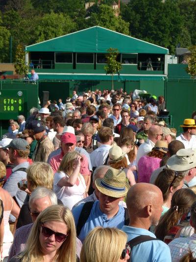 Spectators walking at stadium during wimbledon lawn tennis championships