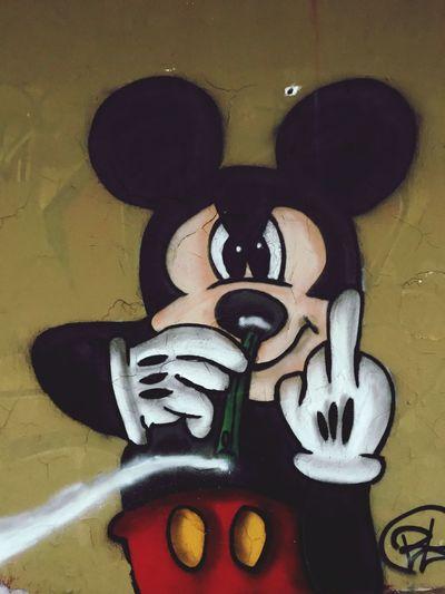 Graffiti & Streetart Graffiti Wall Graffiti Art Graffiti Koks Mickey Mouse Art And Craft Creativity Representation No People Wall - Building Feature Close-up Indoors  Still Life Face Wall