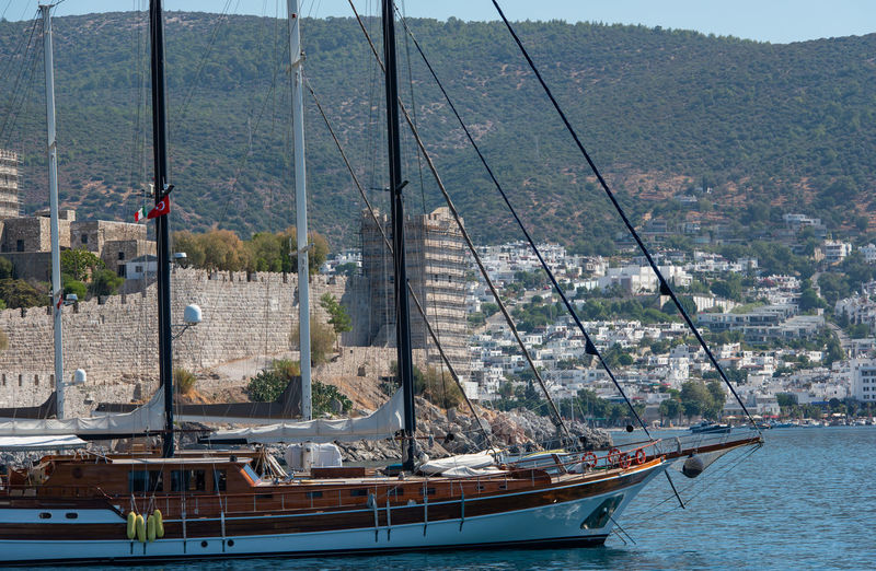Boats and yachts in the harbor of bodrum in the land of turkey