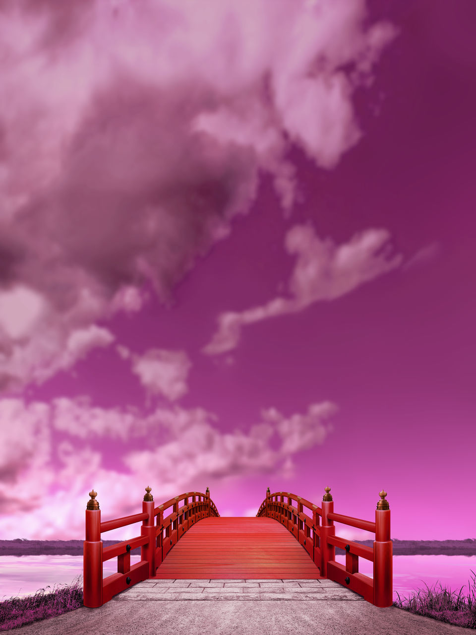 sky, cloud - sky, direction, architecture, nature, built structure, bridge, outdoors, the way forward, connection, pink color, railing, purple, no people, bridge - man made structure, solitude, freedom, choice, individuality, long