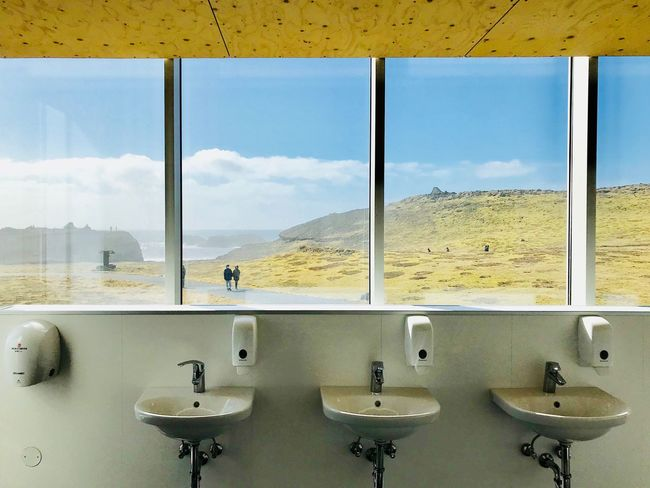 Window Sky Indoors  Bathroom Hygiene No People Glass - Material Day Public Restroom Sink Domestic Room Cloud - Sky Household Equipment Transparent Nature In A Row Public Building Domestic Bathroom Reflection