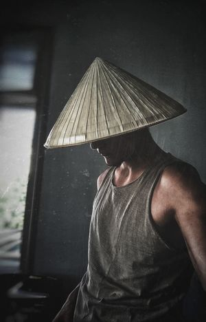 No, I'm not a rice planter One Person People Indoors  HuaweiP9 Samurai Samurai Jack Straw Hat Japanese Culture Badass Poster Posing Self Portrait Selfie ✌