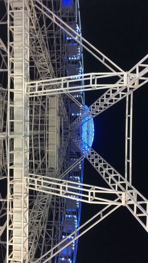 Night Architecture Low Angle View Built Structure Metal Blue Connection No People Complexity Illuminated Girder Outdoors Technology RodaGigante GiantWheel Iron Sky