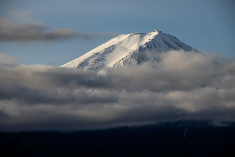 Mt. fuji. scenic view of snowcapped mountains against sky.