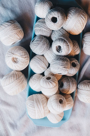 Textile Still Life No People Close-up Backgrounds Indoors  High Angle View Pattern Large Group Of Objects Variation Choice Neutral Colors Yarn Yarn Balls Cotton Cotton Balls Strings