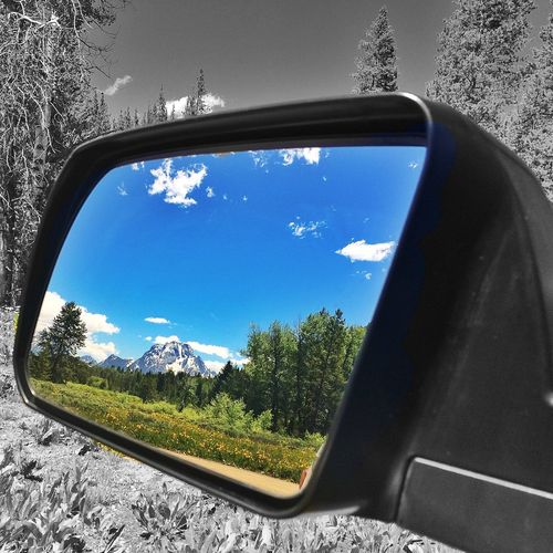 From My Point Of View Rearview Mirror Black And White Grandtetonnationalpark Traveling Nationalpark Country Road Rearviewmirror Rearview
