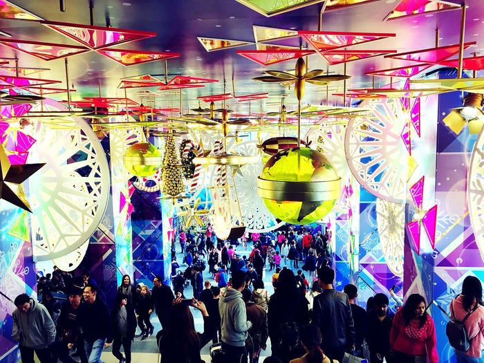 Colorful City IPhoneography Shopping Mall Christmas Atmosphere Christmas Decoration Large Group Of People Multi Colored Arts Culture And Entertainment Crowd Enjoyment Men Fun Women Leisure Activity Real People Lifestyles People