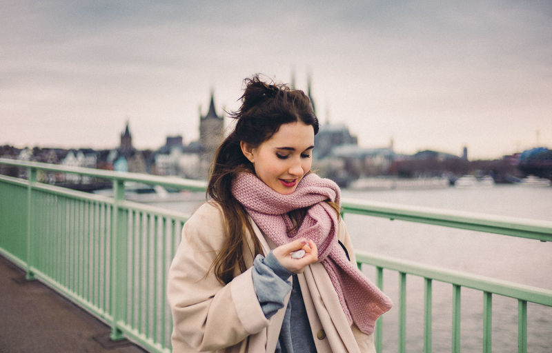 Bridge Bright Casual Clothing Cute Front View Fun Girl Happiness Person Portrait River Smile Smiling Sweet Wolem Young Women
