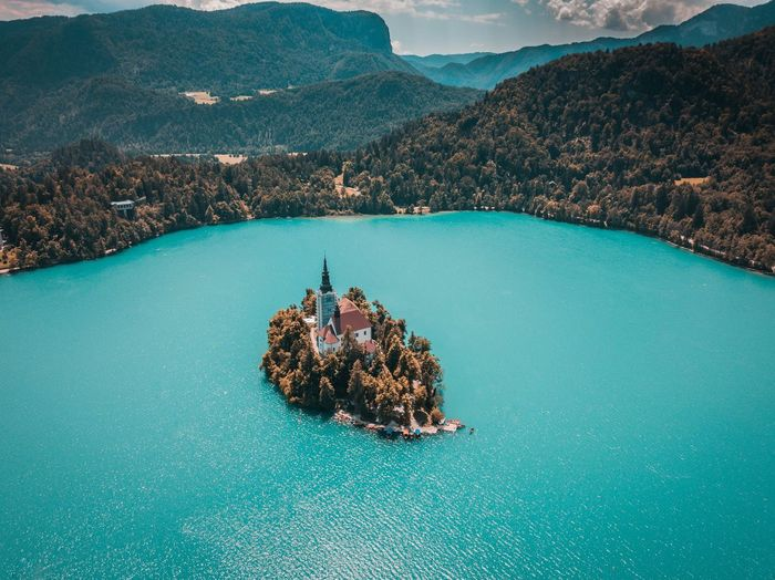 Lake Bled, Slovenia - Drone Shot #1 Water Mountain Sea Scenics - Nature High Angle View Beauty In Nature Nature Tranquil Scene Day Nautical Vessel Rock Tranquility No People Aerial View Rock - Object Solid Turquoise Colored Waterfront Outdoors Bay Slovenia Lake Bled Lake Lake View Lakeside