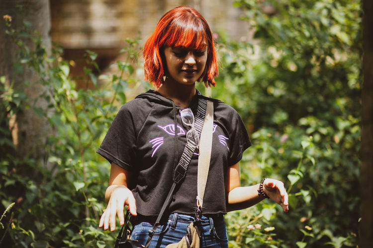 explore Hipster Hipster - Person Hipstergirl Fashion Outdoors Light And Shadow Greenery Dark Green Outdoor Foliage Light Child Smiling Happiness Portrait Cheerful Girls Standing Childhood Redhead Hippie Boho Dyed Hair Dyed Red Hair EyeEmNewHere