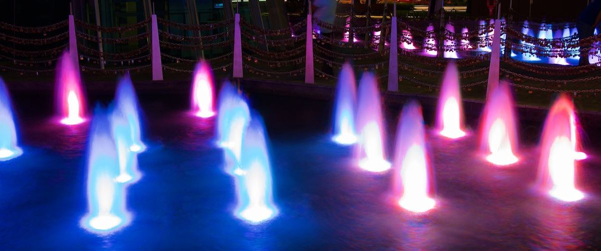 Colorful Lights Australia Citzy Colorful Fontains Illuminated Lights Night No People Outdoors Perth Water