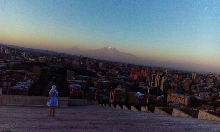 DAWN. #photography #travel # Love #happy #view #downtown #friends #Armenia #yerevan Full Length Women Young Women Cityscape Sky Architecture