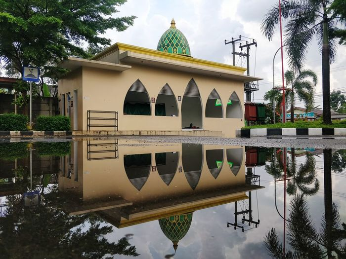 peace is our Praying Moslem Indonesia Moslem Water Reflection Tasikmalaya INDONESIA Mosque Tree Sky Architecture Building Exterior Reflecting Pool