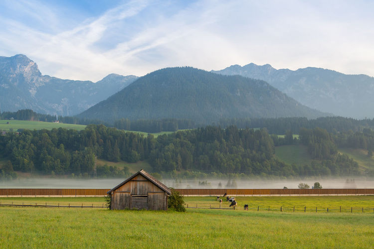 Scenic view of agricultural field by mountains against sky