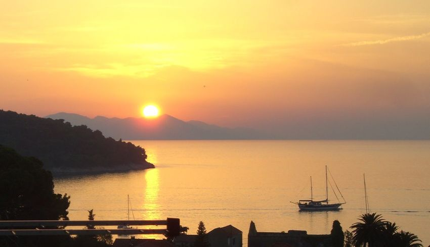 Sunset on Lopud Island Sunset Sunset_collection Sunset Silhouettes Boat Boats Calm Sea Sea Lopud Croatia