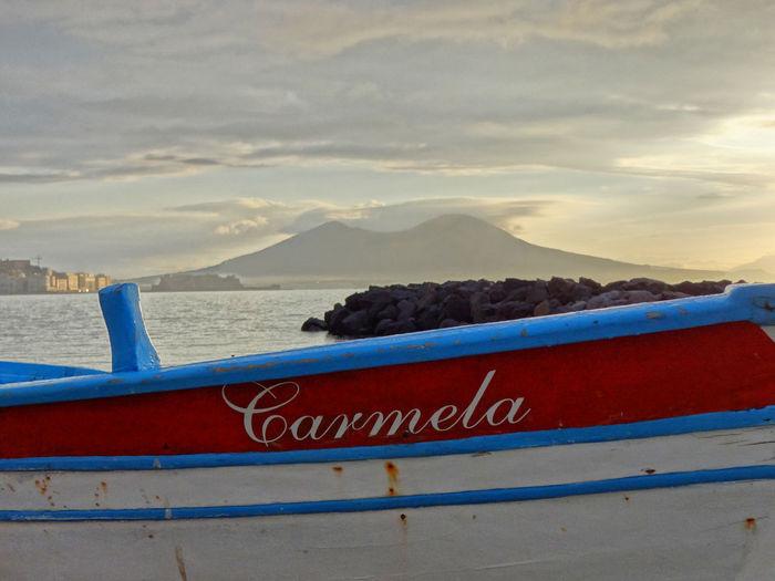 Gozzo con Vesuvio a Napoli Naples Naples, Italy Pesca Carmela Barca Da Pesca Vesuvio Napoli Mare Naples Napoli Vesuvio Gozzo Scogli Boat Communication Outdoors Water Scenics