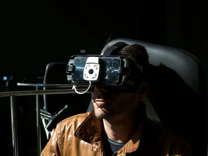 Close-Up Of Man Using Virtual Reality