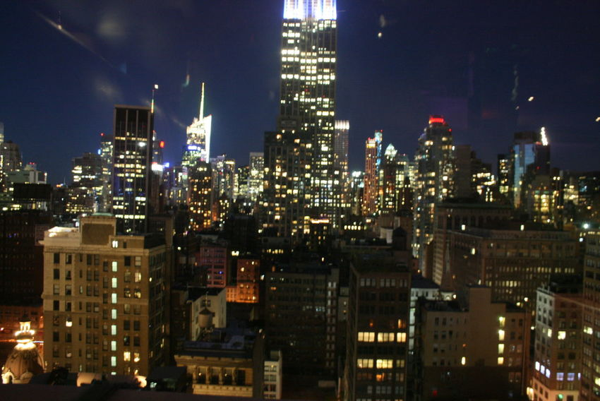 Architecture Building Exterior City City Life Development Empire State Building Human Settlement Modern New York Night Lights Residential District Window