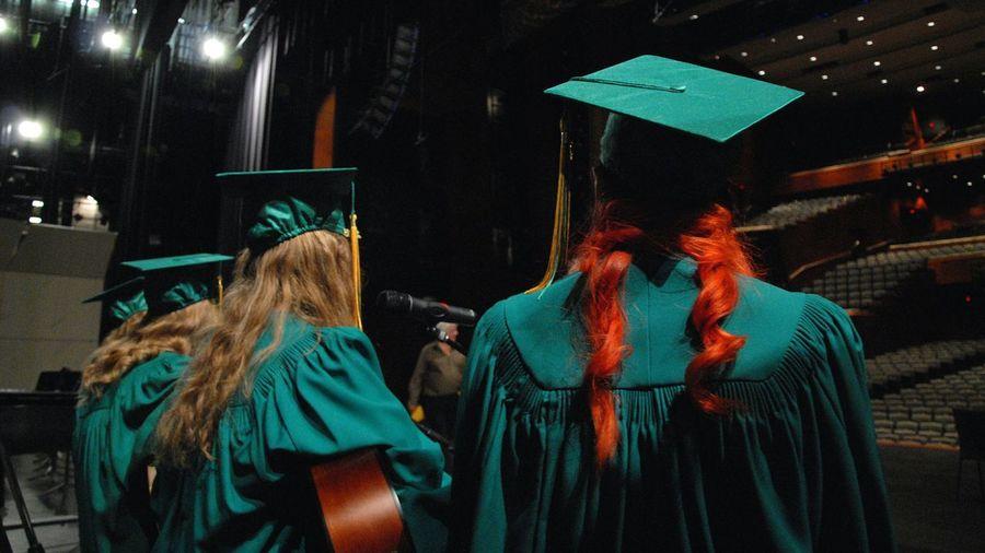 Graduation Grad Graduation Ceremony Performers Gowns Grad Hats Green The Color Of School