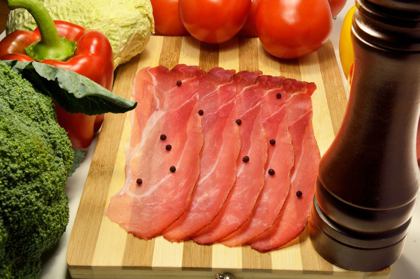 Italian speck, prosciutto crudo Close-up Cutting Board Day Food Food And Drink Freshness Healthy Eating Indoors  Meat Meat! Meat! Meat! No People Prosciutto Crudo Raw Food Ready-to-eat Still Life Table Tomato Vegetable