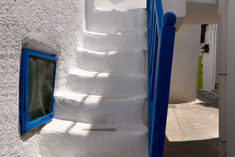 Naxos Town Architecture Blue Building Building Exterior Built Structure Day Door Entrance House Nature No People Outdoors Residential District Safety Security Shadow Sunlight Wall - Building Feature White Color Window