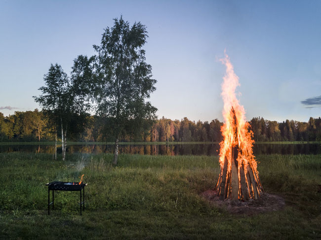 Campfire by lake in Estonia Baltic Campfire Estonia Grass Beauty In Nature Bonfire Burning Clear Sky Field Fire Flame Forest Grass Heat - Temperature Lakeside Landscape Nature No People Outdoors Scenics Sky Tree