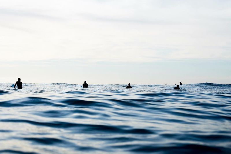 Silhouette of men surfing in sea
