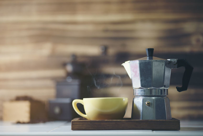 cup of coffee with metal coffee percolator on wooden background, Moka Pot Steam Close-up Coffee Coffee - Drink Coffee Cup Coffee Pot Crockery Cup Drink Food And Drink Hot Drink Mug Refreshment Still Life Table