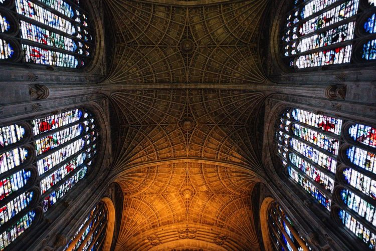 Low angle view of ceiling of church