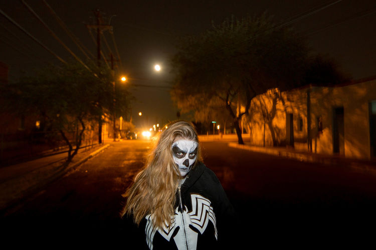 All Souls Procession Fashion Moon Nightphotography Perception Perspective Colorphotography Facepaint Hairstyle Night One Person Outdoors Road Spooky Street Women Inner Power