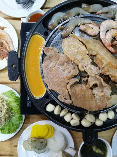 grill pork with Korea style Korean Food Eat Delicious Restaurant Food Pork Grill Homemade Directly Above High Angle View Close-up Sweet Food Food And Drink Egg Yolk