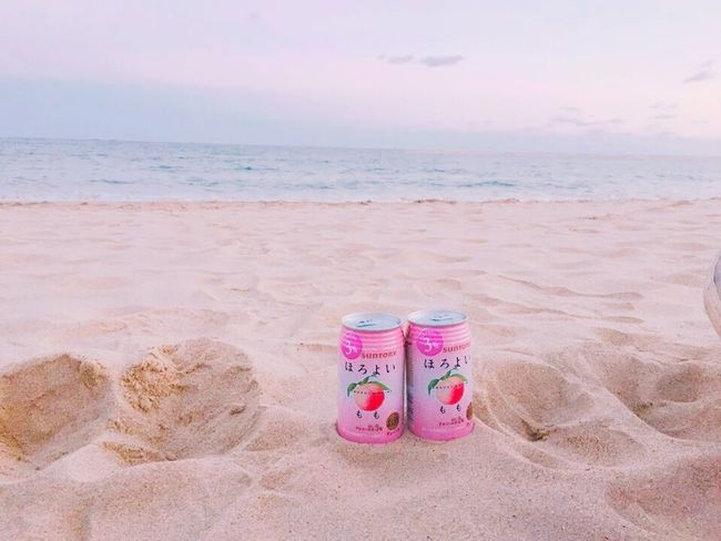 Beach Sand Sea Horizon Over Water Pink Color Water Nature Day No People Tranquility Vacations Beauty In Nature Sky Outdoors Sand Pail And Shovel Horoyoi Beer Beer Time Clear Sky