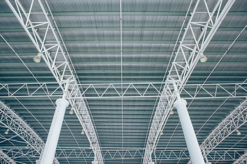 Low angle view of metallic roof