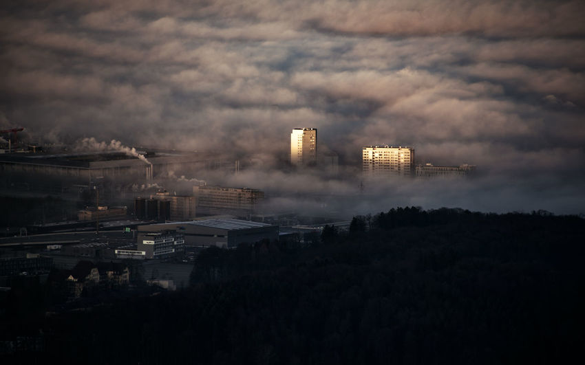 Bern Morning Morning Light Air Pollution Architecture Building Exterior Built Structure City Cityscape Dawn Factory First Light Fog Illuminated Industry Office Building Exterior Plant Sea Of Fog Smoke - Physical Structure Tower