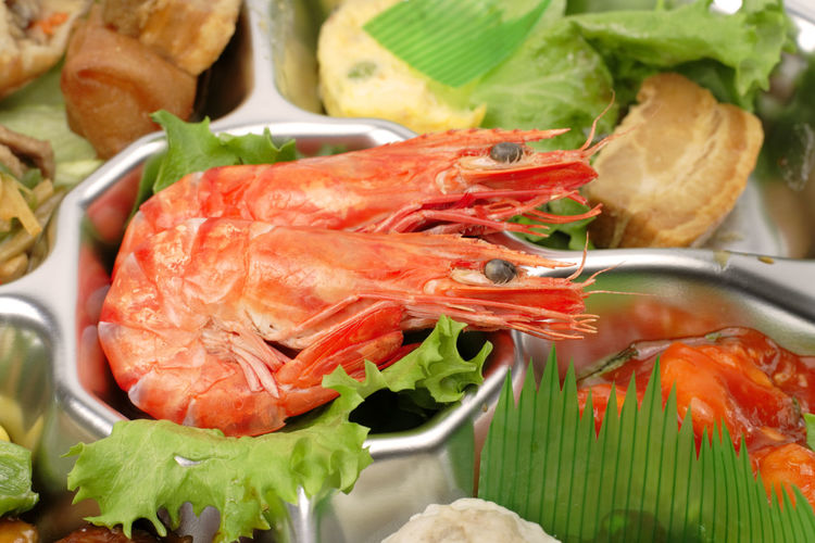 Detail of some shrimps on a seafood assortments tray. Food Food And Drink Freshness Healthy Eating Seafood Wellbeing Crustacean Close-up Ready-to-eat Vegetable Meat No People Plate Meal Lettuce Dinner Tray Seafood Shrimp Shrimp - Seafood