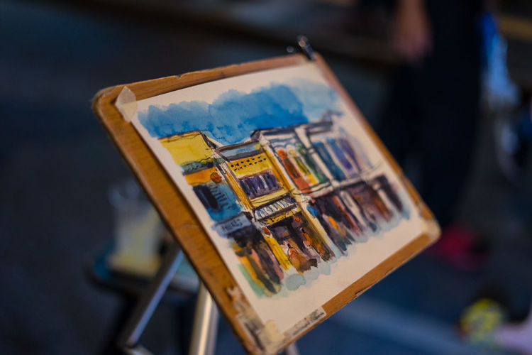 High angle view of painting on easel