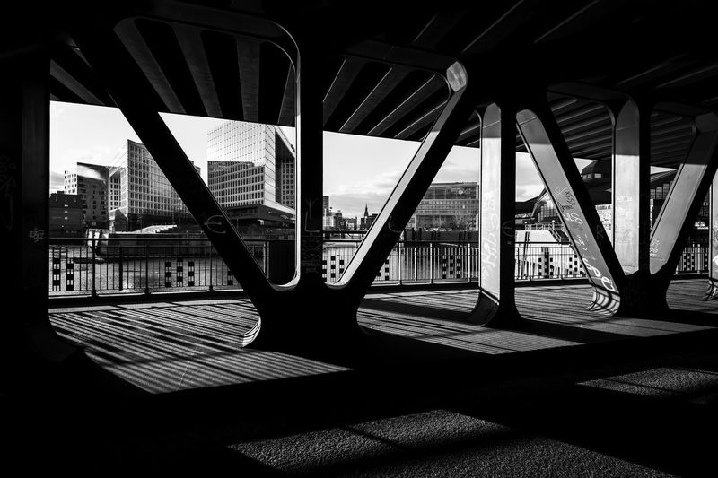 Oberhafenbrücke, Hamburg Hamburg Oberhafenbrücke Architecture Blackandwhite Building Exterior Built Structure City Contrast Day No People Outdoors Shadow Sunlight