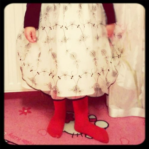 My Niece, her RedsoCk s and her birthday Dress.