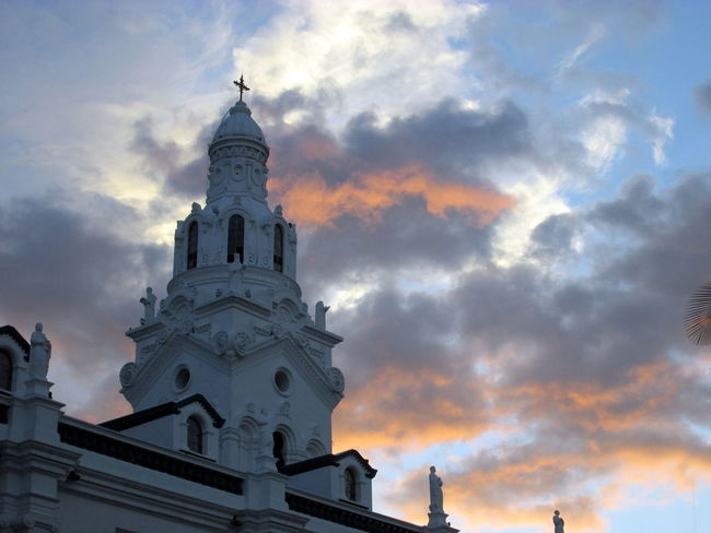 Architecture Bell Tower Building Exterior Church Exterior Cloud Cloud - Sky Cloudy Ecuador Low Angle View Orange Color Overcast Place Of Worship Quito Religion Scenics Sky Spirituality Sunset Tourism Travel Destinations Weather White Building