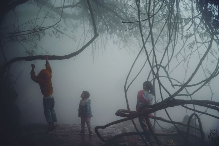 Full Length Tree Real People Leisure Activity Lifestyles Bare Tree Men Silhouette Standing Outdoors Nature Togetherness Day Sky People EyeEmNewHere Film Welcome To Black The Week On Eyem Childhood Eyem Best Shots China Nature 2017 Eyeem Awards
