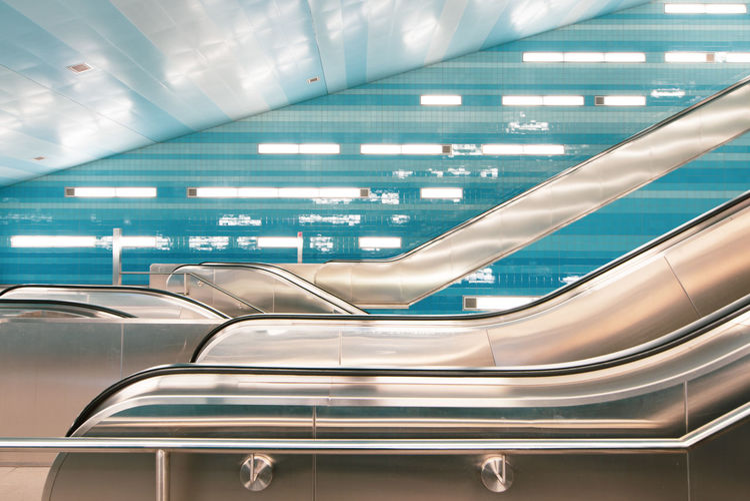Interior of modern subway station