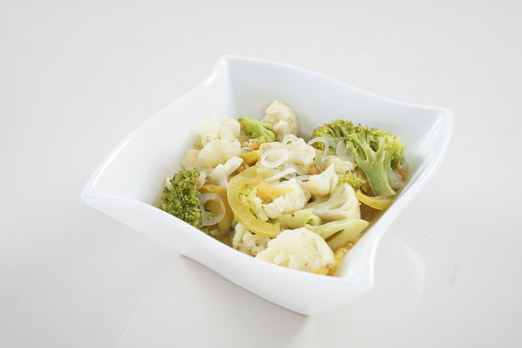 Close-up of pasta in bowl against white background